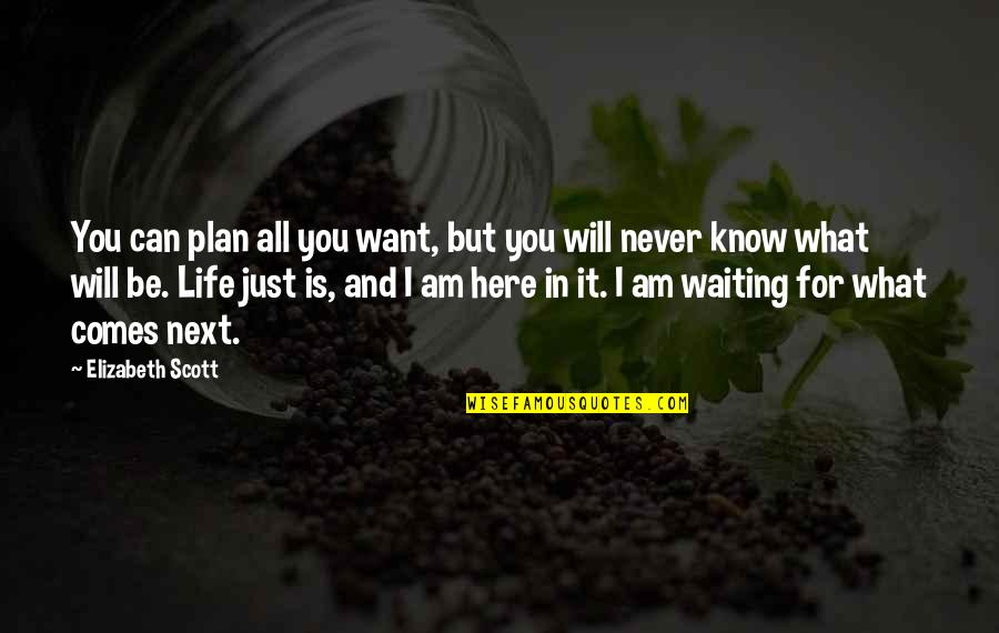 What You Want In Life Quotes By Elizabeth Scott: You can plan all you want, but you