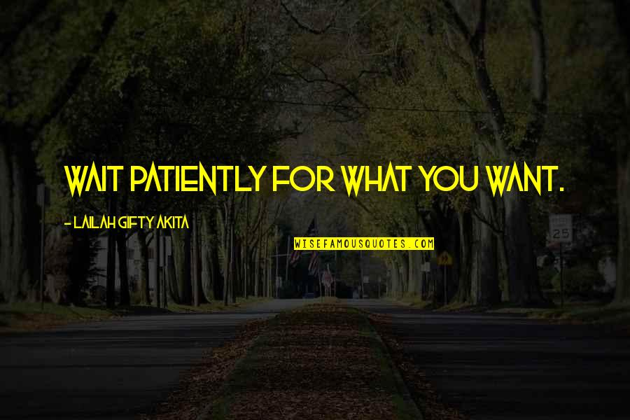 What You Want In Life Quotes By Lailah Gifty Akita: Wait patiently for what you want.