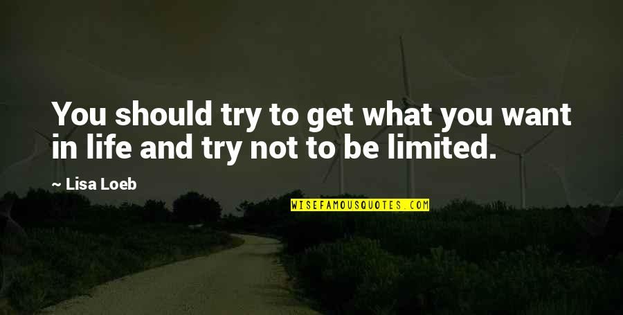 What You Want In Life Quotes By Lisa Loeb: You should try to get what you want