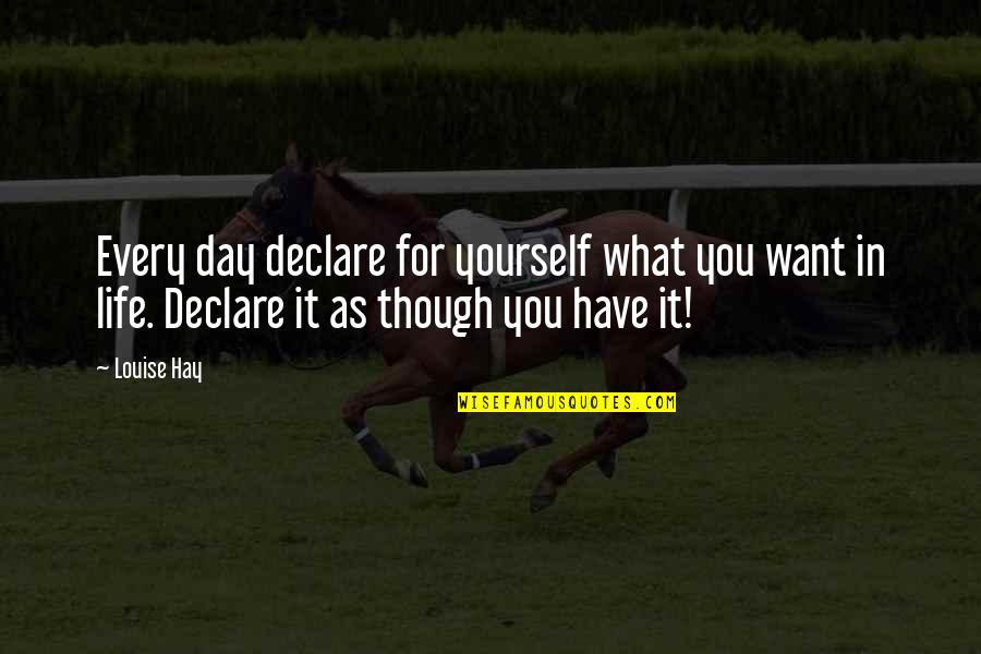 What You Want In Life Quotes By Louise Hay: Every day declare for yourself what you want