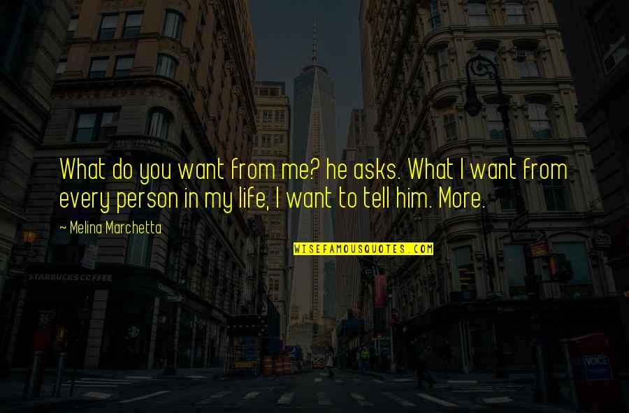 What You Want In Life Quotes By Melina Marchetta: What do you want from me? he asks.