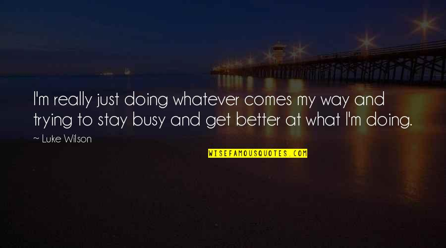Whatever Comes My Way Quotes By Luke Wilson: I'm really just doing whatever comes my way
