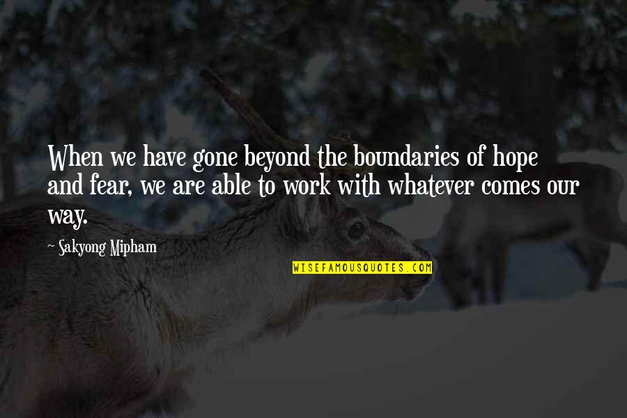 Whatever Comes My Way Quotes By Sakyong Mipham: When we have gone beyond the boundaries of