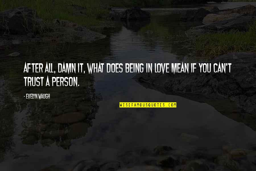 What's Love Without Trust Quotes By Evelyn Waugh: After all, damn it, what does being in