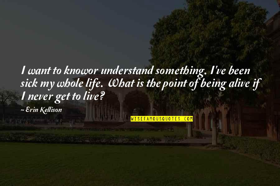 What's The Point Of Life Quotes By Erin Kellison: I want to knowor understand something. I've been