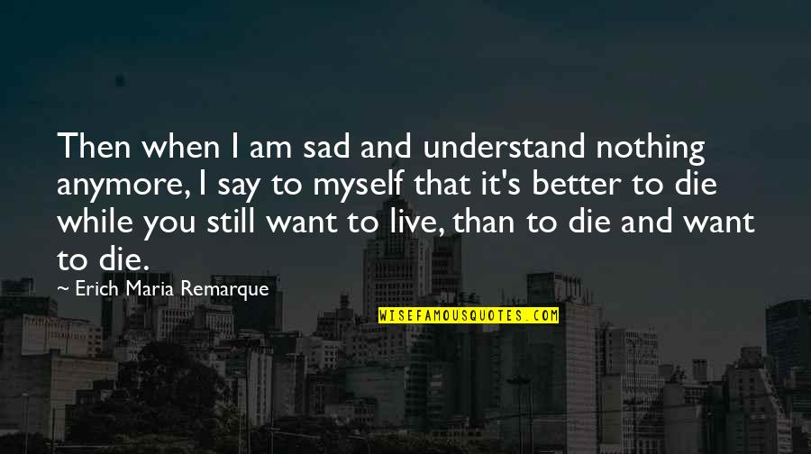 When I Die Quotes By Erich Maria Remarque: Then when I am sad and understand nothing