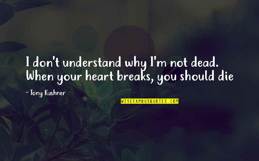 When I Die Quotes By Tony Kushner: I don't understand why I'm not dead. When