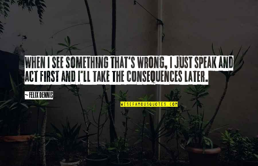 When I First See You Quotes By Felix Dennis: When I see something that's wrong, I just