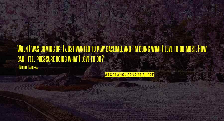 When I Love Quotes By Miguel Cabrera: When I was coming up, I just wanted
