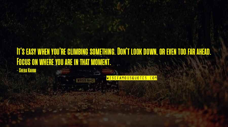 When Life Was Easy Quotes By Sheba Karim: It's easy when you're climbing something. Don't look