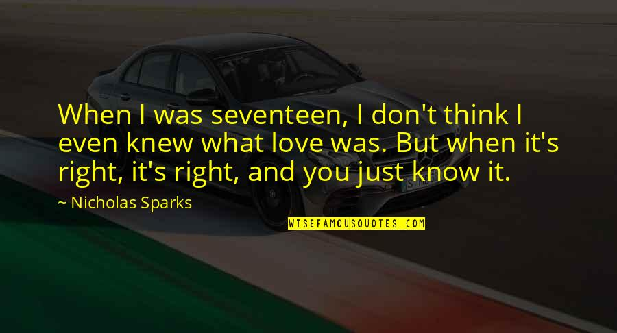 When They Think You Don't Know Quotes By Nicholas Sparks: When I was seventeen, I don't think I