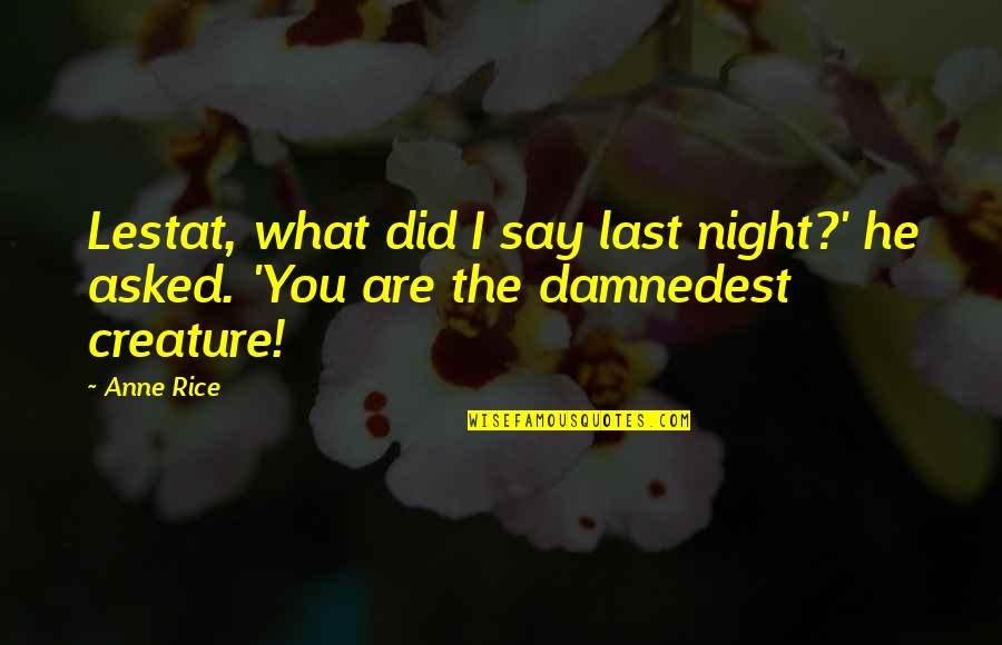 When You Are Not His Priority Quotes By Anne Rice: Lestat, what did I say last night?' he