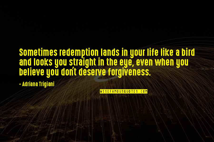 When You Believe Quotes By Adriana Trigiani: Sometimes redemption lands in your life like a