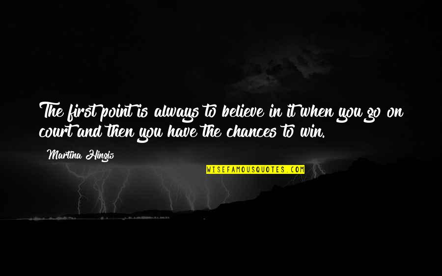 When You Believe Quotes By Martina Hingis: The first point is always to believe in