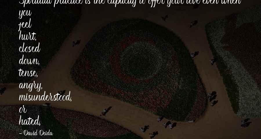 When You Feel Hurt Quotes By David Deida: Spiritual practice is the capacity to offer your