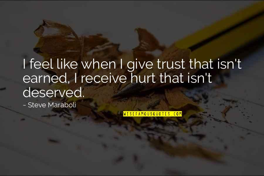When You Feel Hurt Quotes By Steve Maraboli: I feel like when I give trust that
