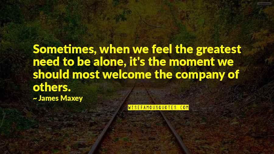 When You Feel So Alone Quotes By James Maxey: Sometimes, when we feel the greatest need to