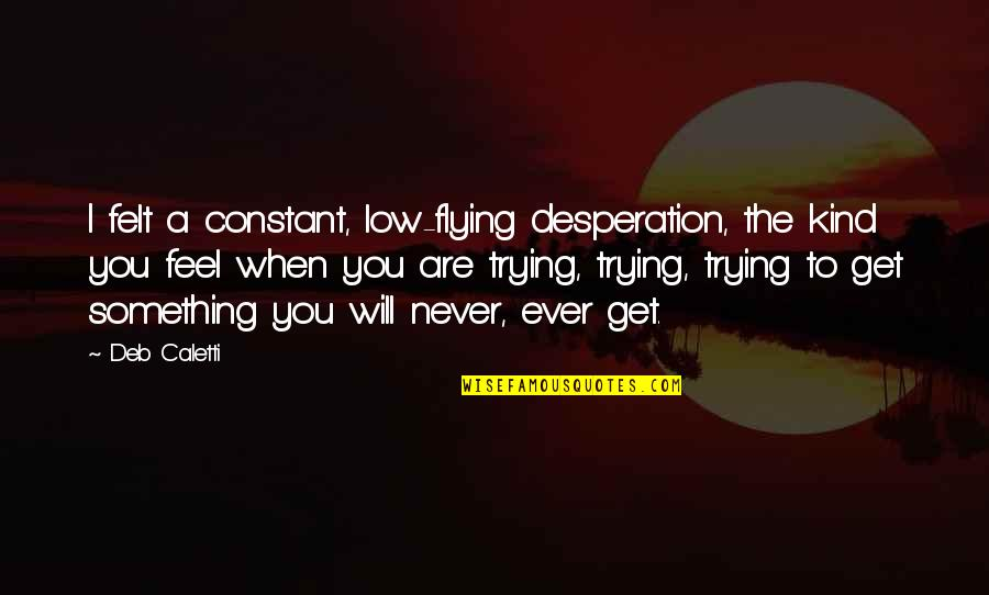 When You Feel So Low Quotes By Deb Caletti: I felt a constant, low-flying desperation, the kind