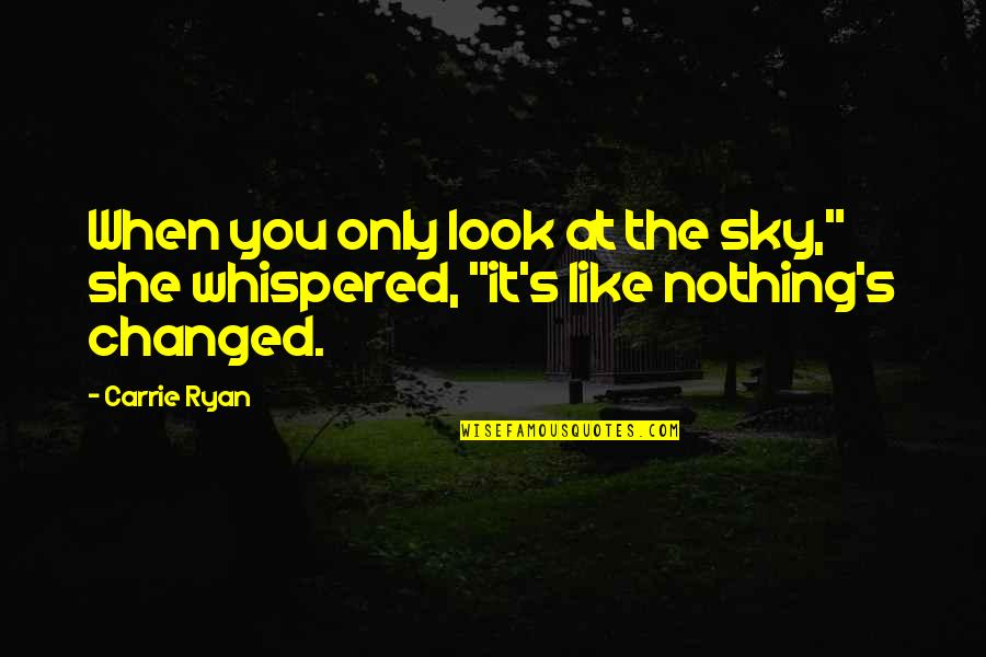 "When You Look Up At The Sky Quotes By Carrie Ryan: When you only look at the sky,"" she"