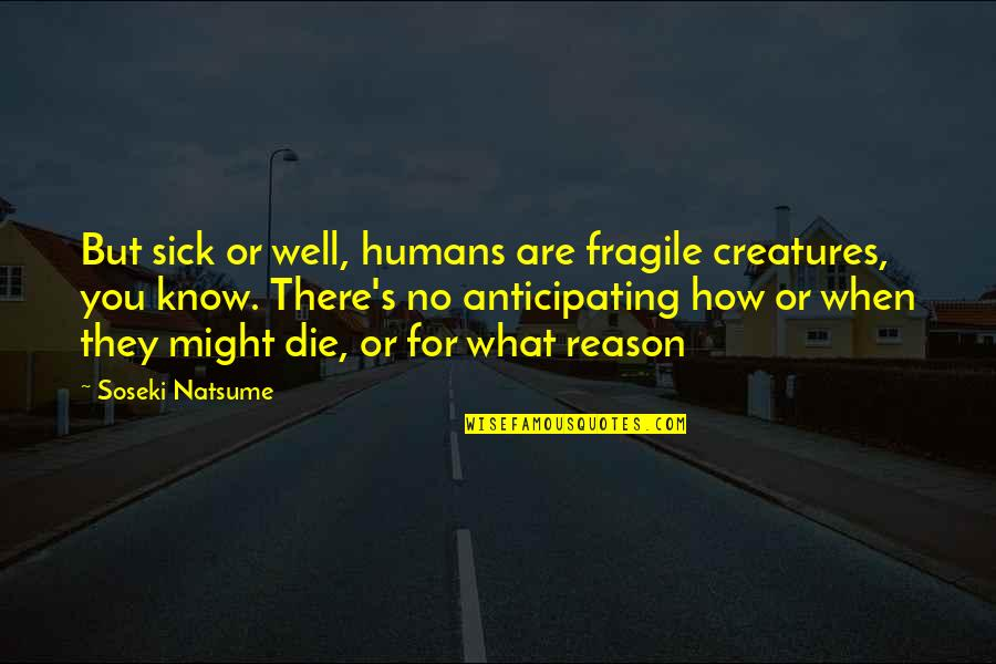 When You're Sick Quotes By Soseki Natsume: But sick or well, humans are fragile creatures,