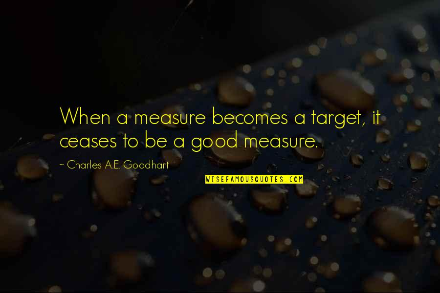 When'e's Quotes By Charles A.E. Goodhart: When a measure becomes a target, it ceases