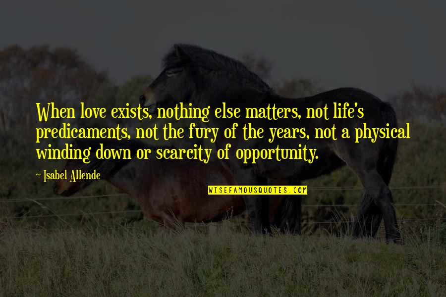 When'e's Quotes By Isabel Allende: When love exists, nothing else matters, not life's