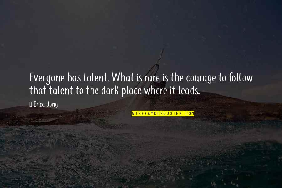 Where Is Everyone Quotes By Erica Jong: Everyone has talent. What is rare is the