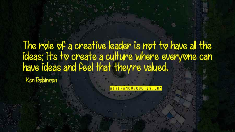 Where Is Everyone Quotes By Ken Robinson: The role of a creative leader is not