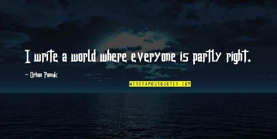 Where Is Everyone Quotes By Orhan Pamuk: I write a world where everyone is partly