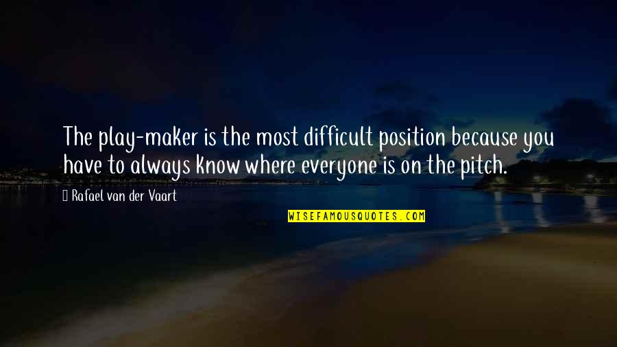 Where Is Everyone Quotes By Rafael Van Der Vaart: The play-maker is the most difficult position because