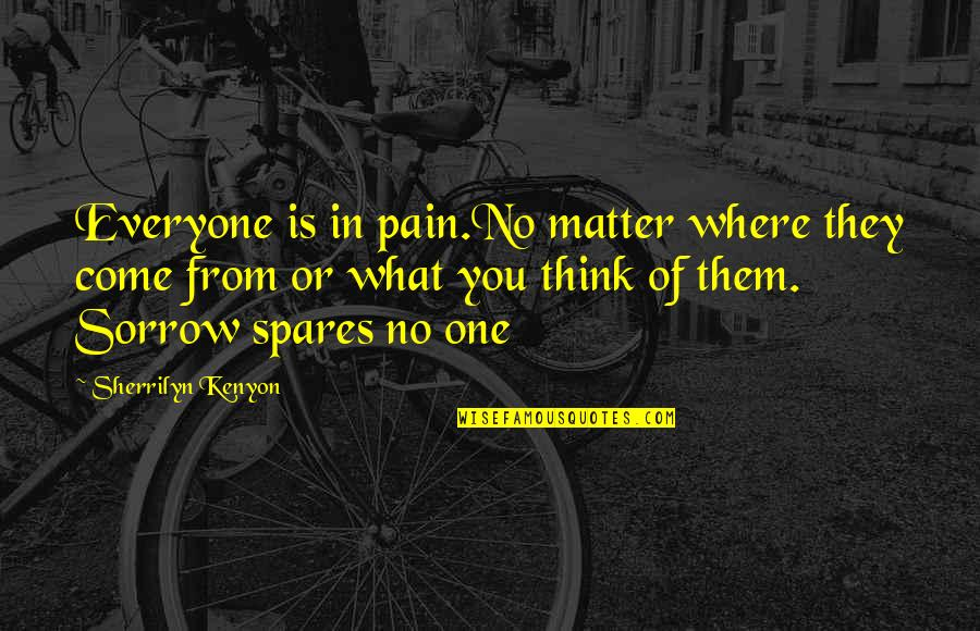 Where Is Everyone Quotes By Sherrilyn Kenyon: Everyone is in pain.No matter where they come