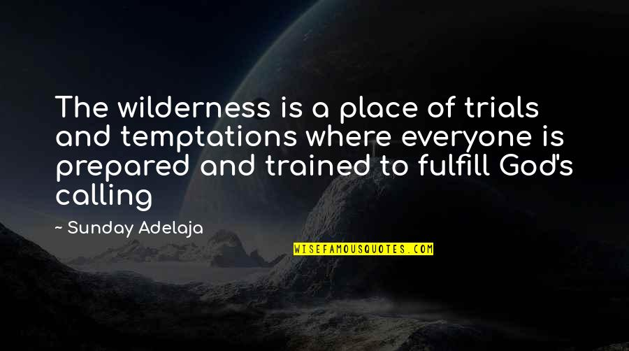 Where Is Everyone Quotes By Sunday Adelaja: The wilderness is a place of trials and