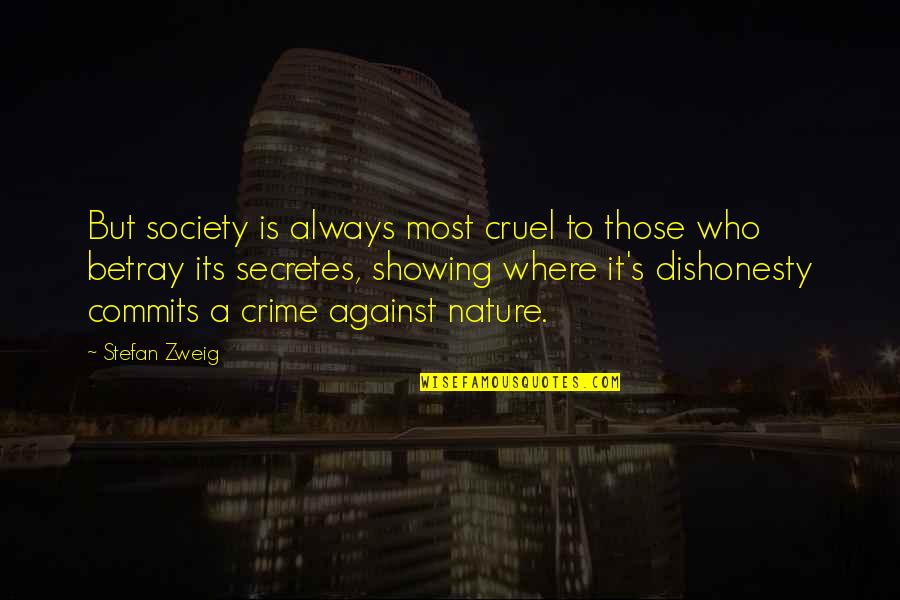 Where Is The Humanity Quotes By Stefan Zweig: But society is always most cruel to those
