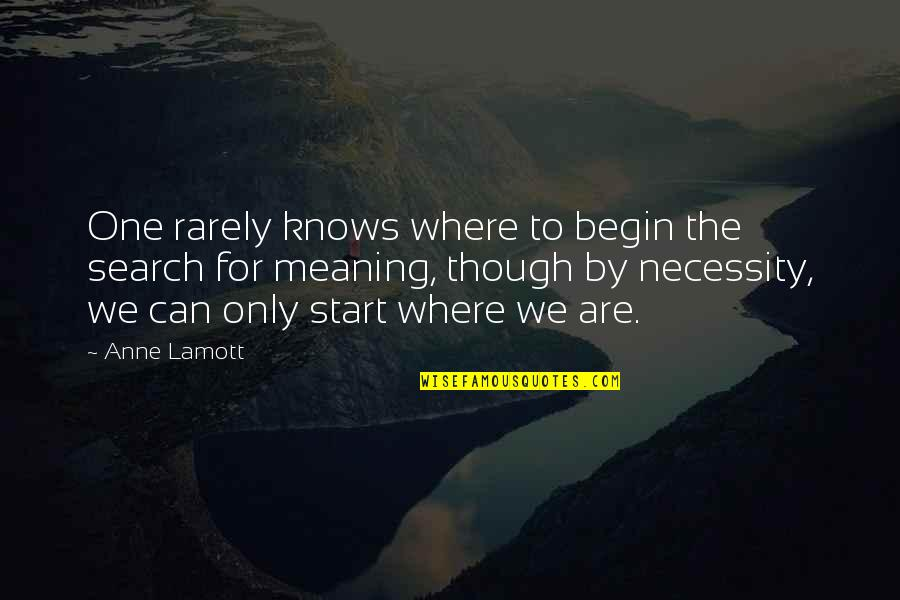 Where To Begin Quotes By Anne Lamott: One rarely knows where to begin the search
