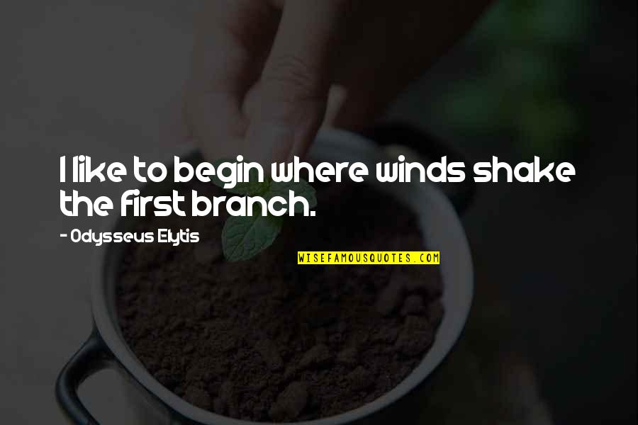 Where To Begin Quotes By Odysseus Elytis: I like to begin where winds shake the
