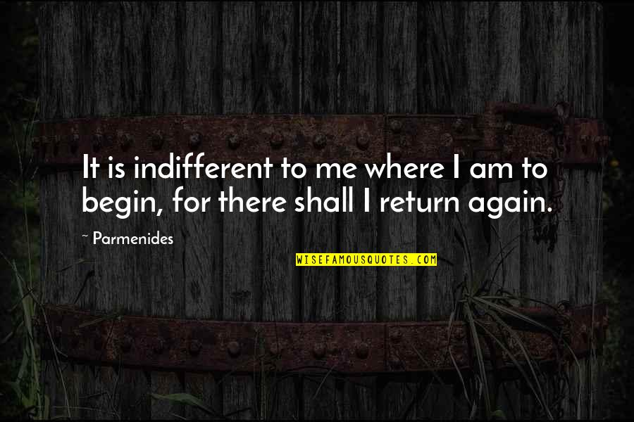 Where To Begin Quotes By Parmenides: It is indifferent to me where I am
