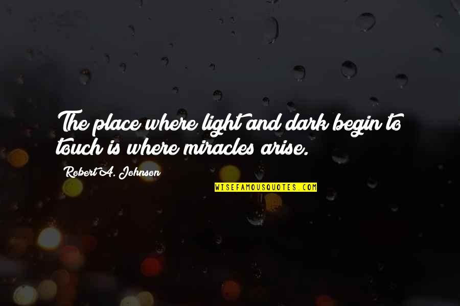 Where To Begin Quotes By Robert A. Johnson: The place where light and dark begin to