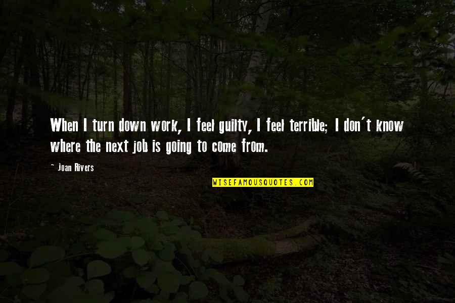 Where To Next Quotes By Joan Rivers: When I turn down work, I feel guilty,