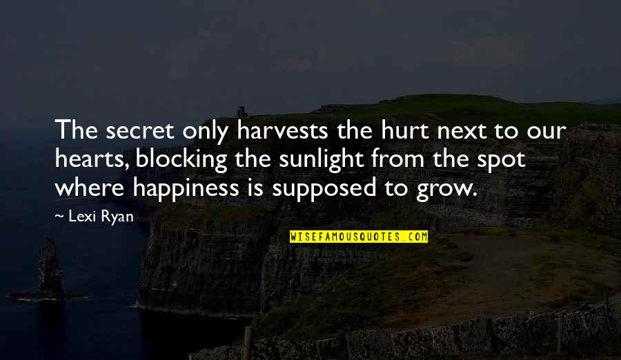 Where To Next Quotes By Lexi Ryan: The secret only harvests the hurt next to