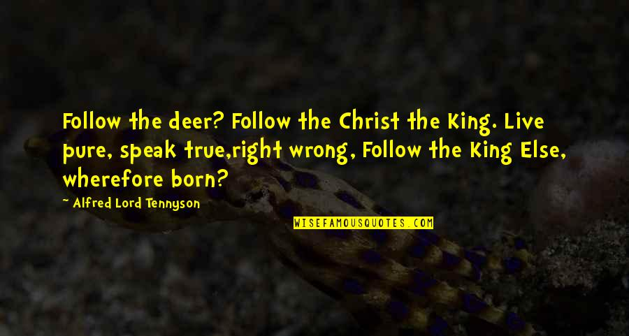 Wherefore's Quotes By Alfred Lord Tennyson: Follow the deer? Follow the Christ the King.