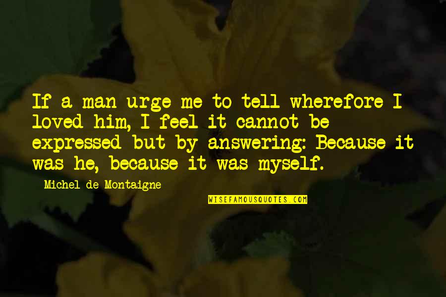 Wherefore's Quotes By Michel De Montaigne: If a man urge me to tell wherefore