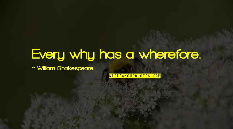 Wherefore's Quotes By William Shakespeare: Every why has a wherefore.