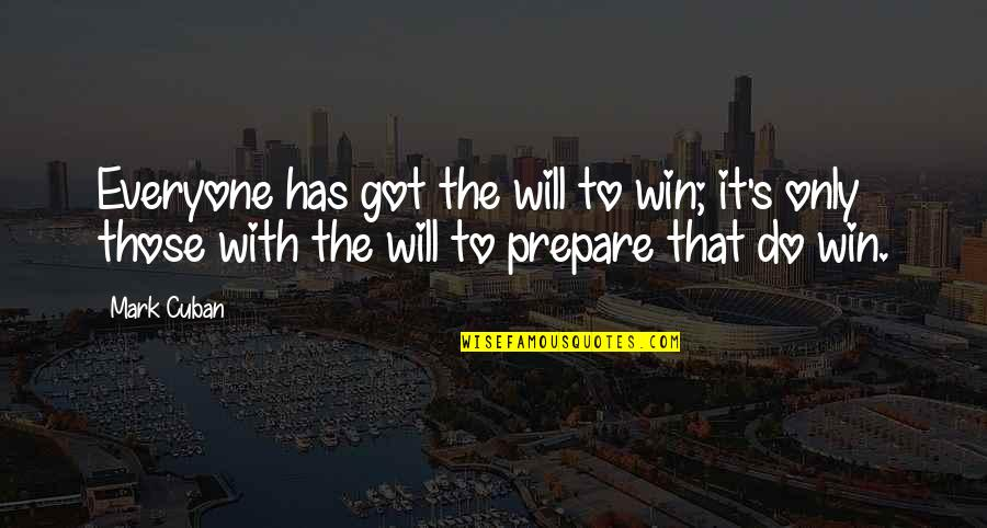 Where's God When It Hurts Quotes By Mark Cuban: Everyone has got the will to win; it's
