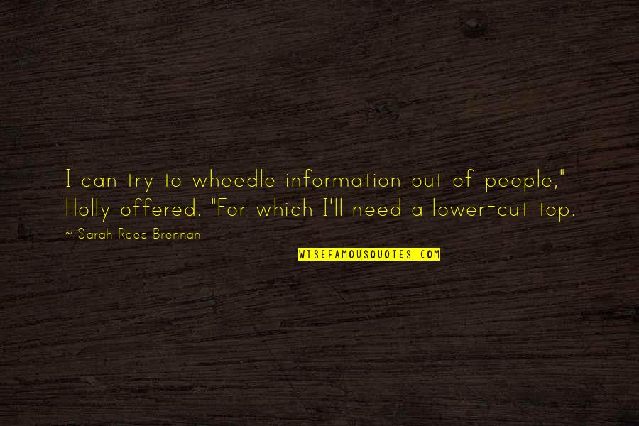 Which'll Quotes By Sarah Rees Brennan: I can try to wheedle information out of