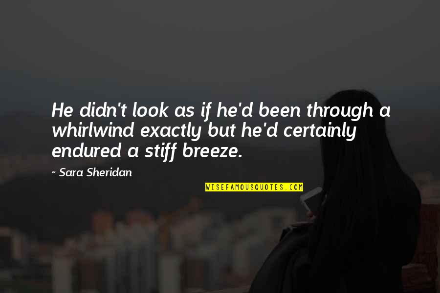 Whirlwind Quotes By Sara Sheridan: He didn't look as if he'd been through
