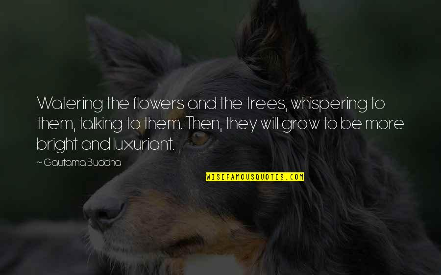 Whispering-sweet-nothings Quotes By Gautama Buddha: Watering the flowers and the trees, whispering to