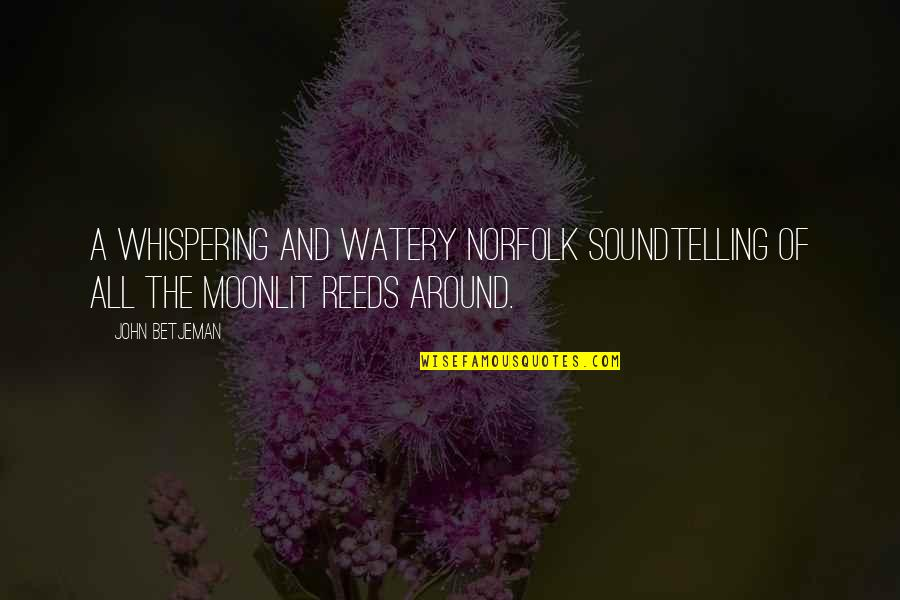 Whispering-sweet-nothings Quotes By John Betjeman: A whispering and watery Norfolk soundTelling of all