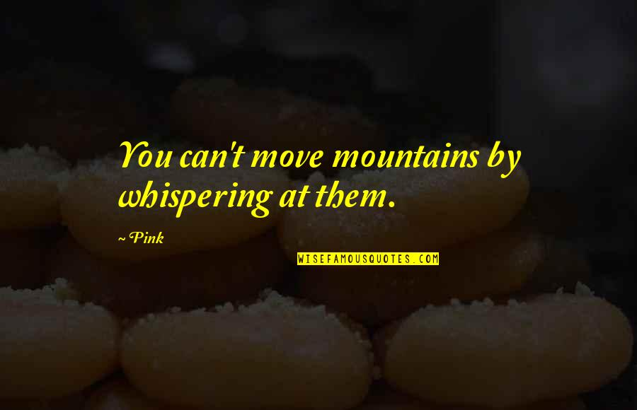 Whispering-sweet-nothings Quotes By Pink: You can't move mountains by whispering at them.