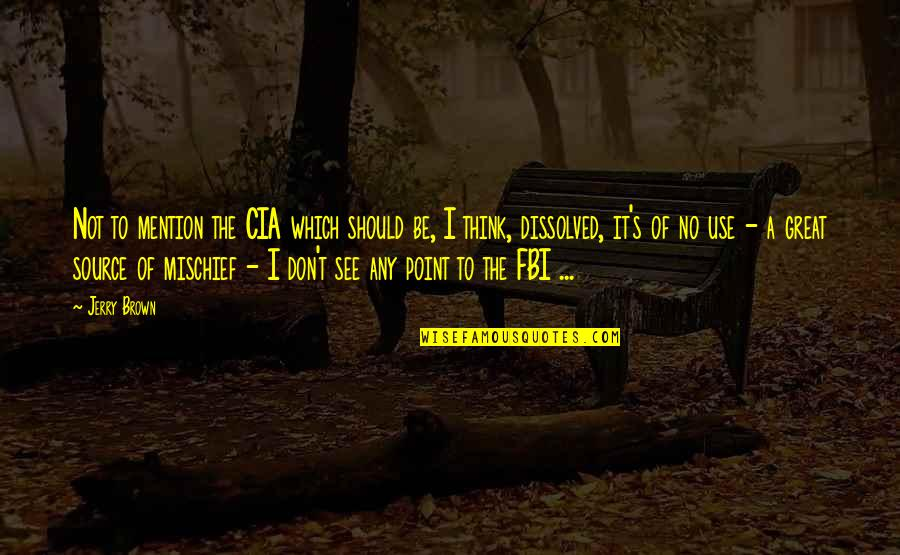 White Heat Movie Quotes By Jerry Brown: Not to mention the CIA which should be,