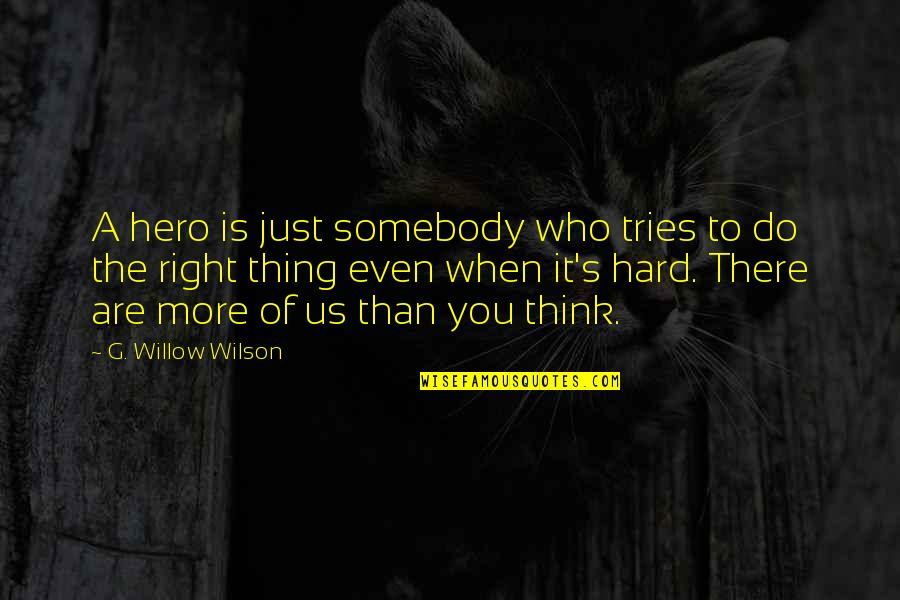 Who Do You Think You Are Quotes By G. Willow Wilson: A hero is just somebody who tries to